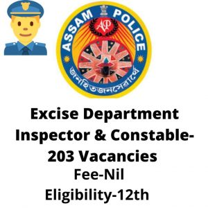 Assam Police Excise Inspector Recruitment 2020